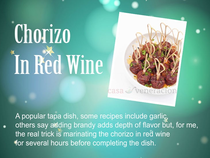 12 Days of Christmas Appetizers and Finger Food: Chorizo In Red Wine