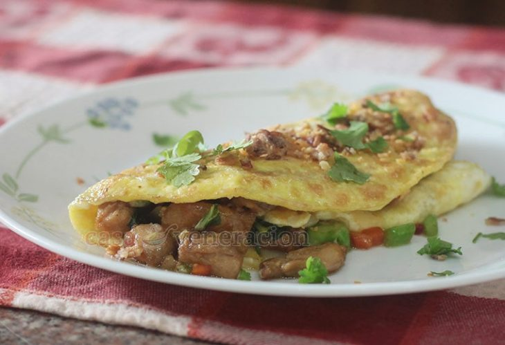 Cooked with leftover meat and vegetables chosen for the crisp texture, this kailan (Chinese broccoli) and <em>bok choy</em> tips omelet makes a lovely hearty breakfast or a light lunch.
