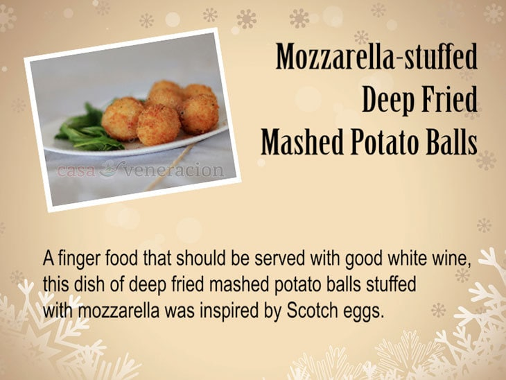 12 Days of Christmas Appetizers and Finger Food: Mozzarella-stuffed Deep Fried Mashed Potato Balls