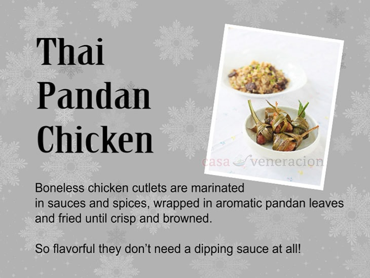 12 Days of Christmas Appetizers and Finger Food: Thai Pandan Chicken (Gai Ob Bai Toey)