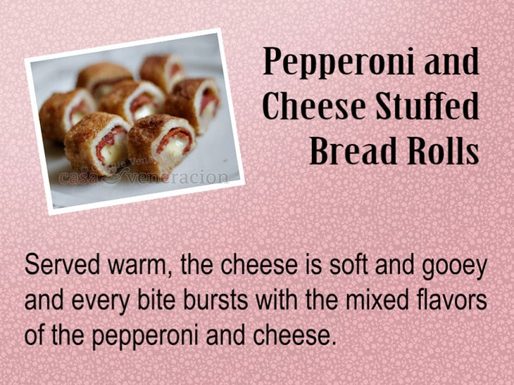 12 Days of Christmas Appetizers and Finger Food: Pepperoni and Cheese Stuffed Bread Rolls