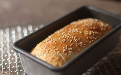 We used the basic bread recipe, exactly as it is without any modification, to create mini loaf bread. You can, of course, bake just one loaf bread using a larger loaf pan.