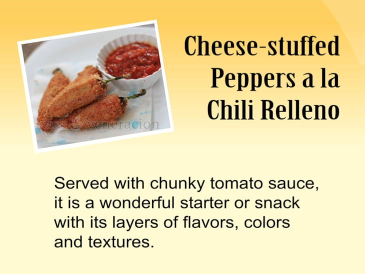 12 Days of Christmas Appetizers and Finger Food: Cheese-stuffed Peppers a la Chili Relleno