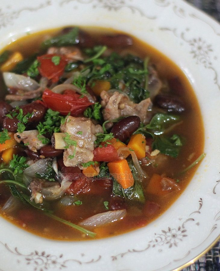Pork, beans and vegetables soup with sweet paprika