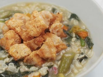 White Corn Soup With Squash Blossoms