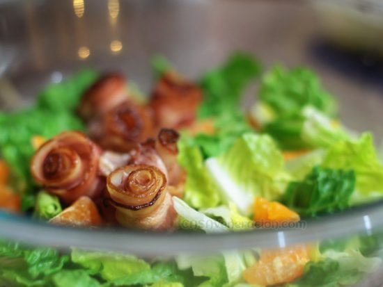Post-Valentine's Day dinner: Bacon roses on a bed of green salad
