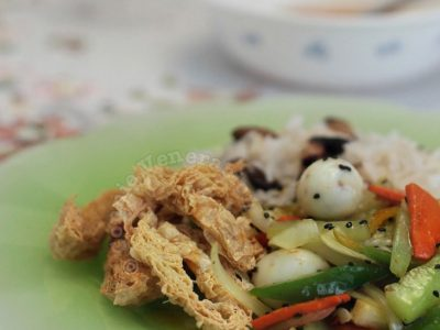 Crisp tofu skin, mixed vegetables and quail eggs with sweet and sour sauce