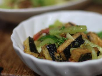 "Vegan sweet and tangy soybean-based ""fish fillets"" with chayote stir fry"