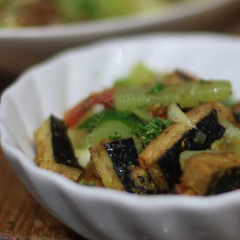 """Vegan sweet and tangy soybean-based """"fish fillets"""" with chayote stir fry"""