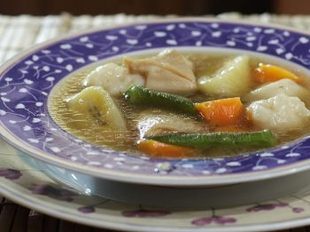 This tripe and dumplings soup is basically a boiled meat and vegetables soup. The authentic Caribbean recipe will contain slices of plantain which we don't have here in Asia. What we have is the saba banana. I retained the vegetables more traditionally associated with the soup like okra and carrots. And, of course, I also retained the dumplings.
