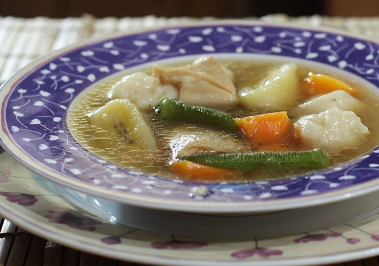 This tripe and dumplings soup is basically a boiled meat and vegetables soup. The authentic Caribbean recipe contains plantain; I used saba banana. I retained the vegetables more traditionally associated with the soup like okra and carrots, and, of course, the dumplings.