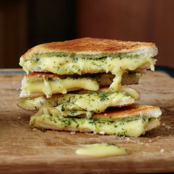 Grilled cheese and pesto sandwiches. Take a break from the usual.
