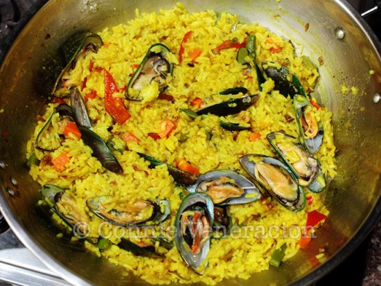 Yellow rice with fresh mussels and mixed vegetables