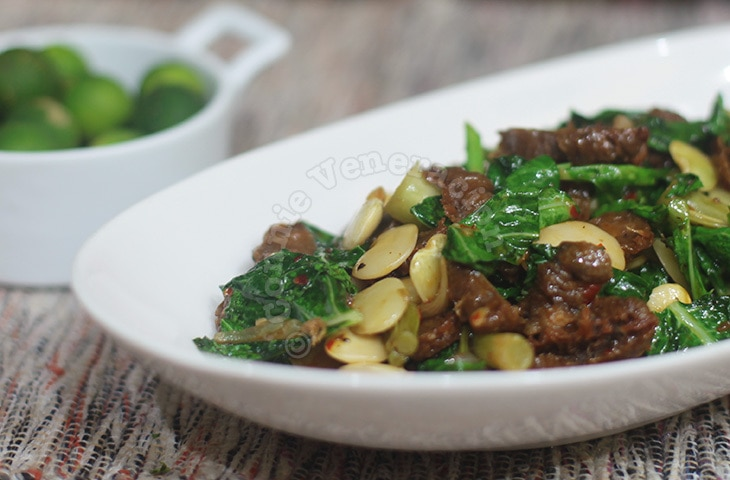 Vegetarian beef, lima beans and Chinese broccoli stir fry. Meatless and vegan.