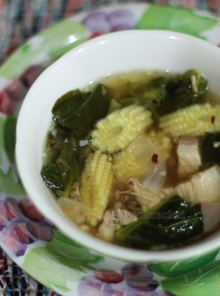 Baby corn (or young corn, as it is sometimes called) is often associated with stir fries. Who would have thought that it would make a superb ingredient for a soup dish too?