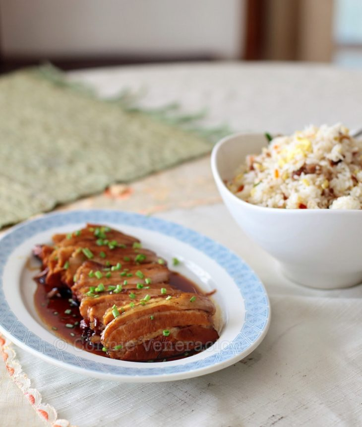Yesterday's lunch: soy-honey pork and Chinese-style fried rice
