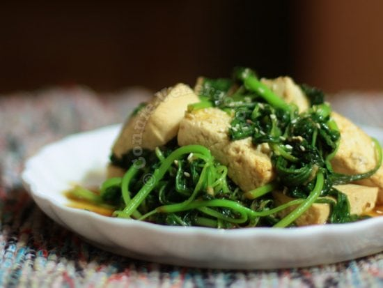 Tofu and spinach with teriyaki sauce