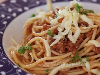 """How to make a very """"meaty"""" pasta sauce with very little meat"""