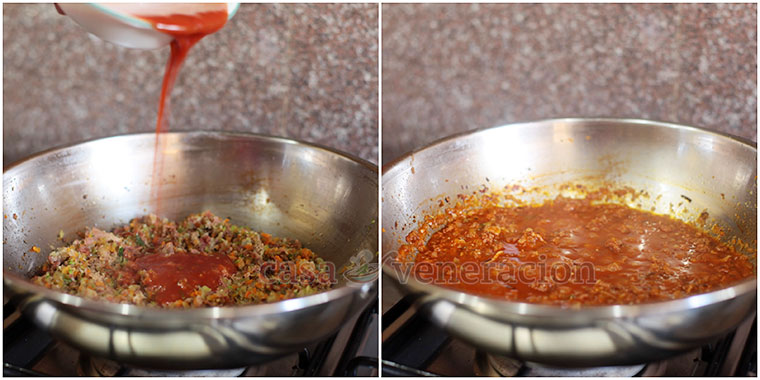 I tweaked my secret pasta sauce to incorporate more vegetables and less meat. The goal: create a sauce that was just as tasty, just as chunky and just as aromatic.