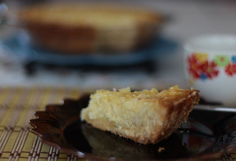Imagine leche flan (steamed crème caramel) or crème brûlée without the hard topping. Imagine coconut flakes stirred into the custard. Now, imagine that delightful mixture enfolded by a buttery crust. That's what this coconut custard pie is in a nutshell.