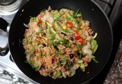 Masala rice with oyster mushrooms and vegetables