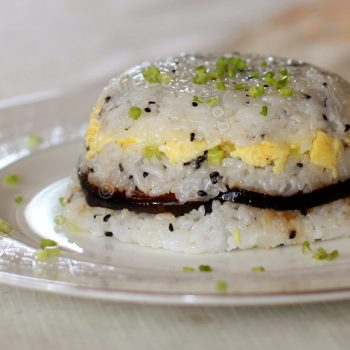Sushi-style rice, eggs and teriyaki eggplants terrine