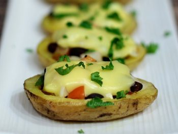 Vegetarian baked stuffed potatoes