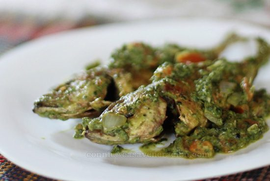 Crisp-fried scad with spinach and coconut milk sauce