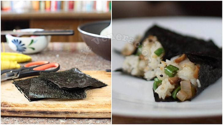 Nori-wrapped sticky rice, shiitake and green beans