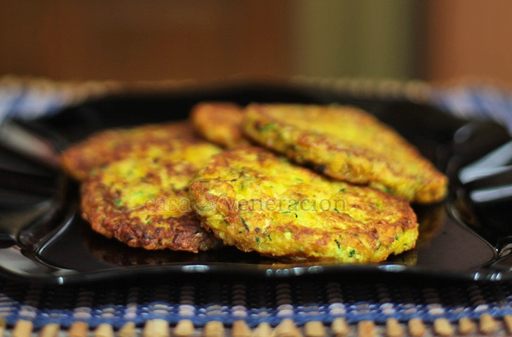 Butter is really, really good for making these squash and zucchini fritters. But butter burns fast, so I used equal amounts of butter and vegetable oil.