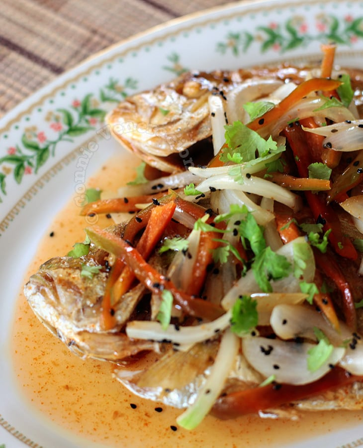 Fried talakitok (trevally) with 1-minute sweet and sour sauce