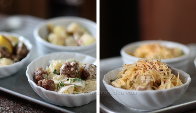 Cheesy meatballs and potato casserole