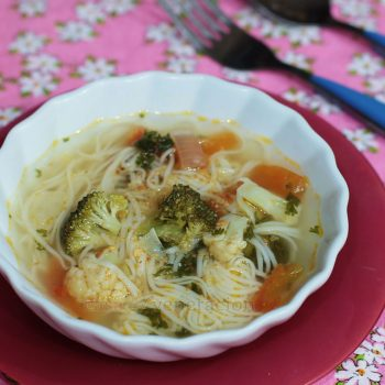 This meatless misua soup has broccoli and cauliflower to add texture, color and contrast. As with simple dishes, the ingredients and the cooking process will not condone short cuts. Take your time allowing the aromatics to sweat to create a rich base for the soup. And use only the best quality broth.
