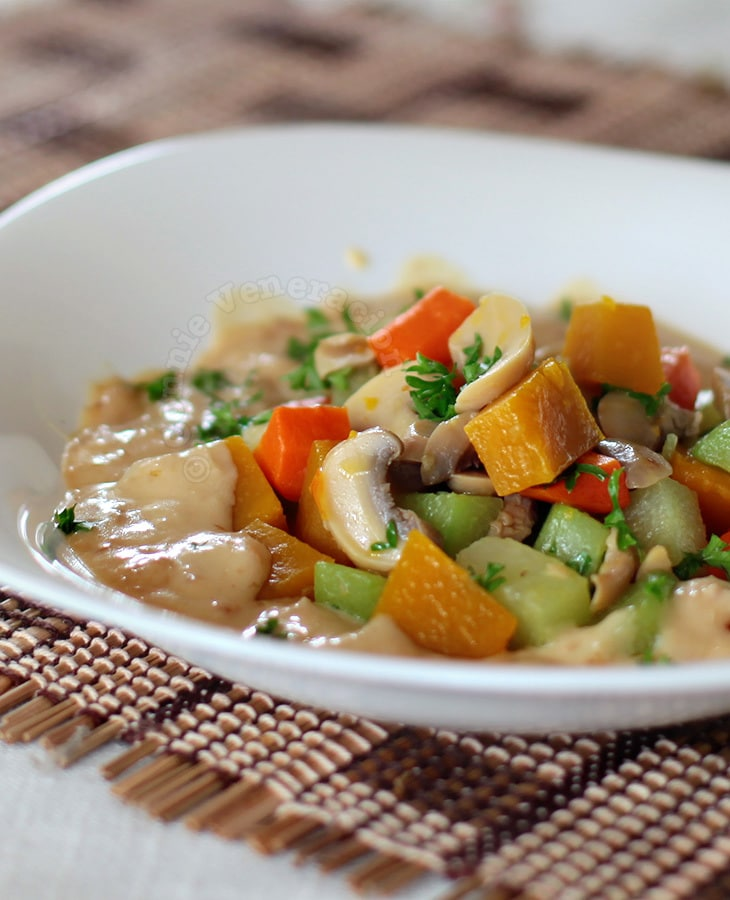 Buttered vegetables with soubise sauce