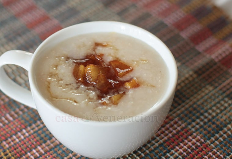 To cooked oatmeal, I stirred in two tablespoonfuls of applesauce. Then, I caramelized apple cubes in honey, with a generous sprinkle of cinnamon, until the apple cubes were bronzed and soft, and added them to the oatmeal.