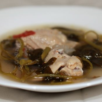 Sinigang na manok (chicken and vegetables soup with tamarind extract)