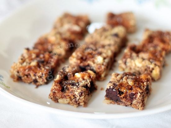 Oats, nuts, chocolate and caramel squares