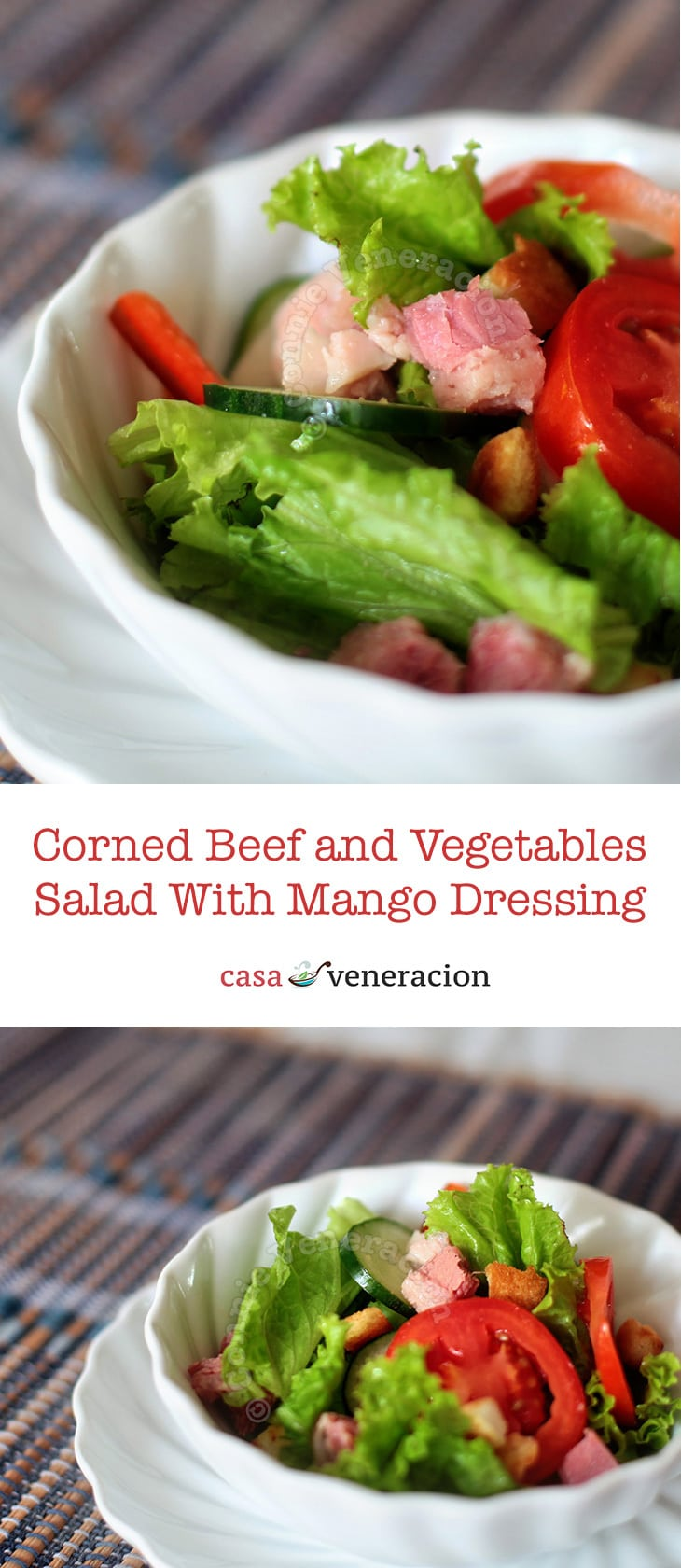 Cubes of homemade corned beef and salad vegetables are tossed with a dressing made with mango syrup, lime juice, mustard and ginger.