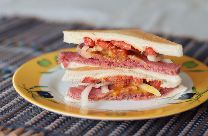 Homemade corned beef sandwich