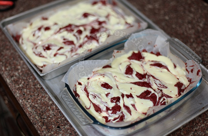 Swirled red velvet cheesecake brownies