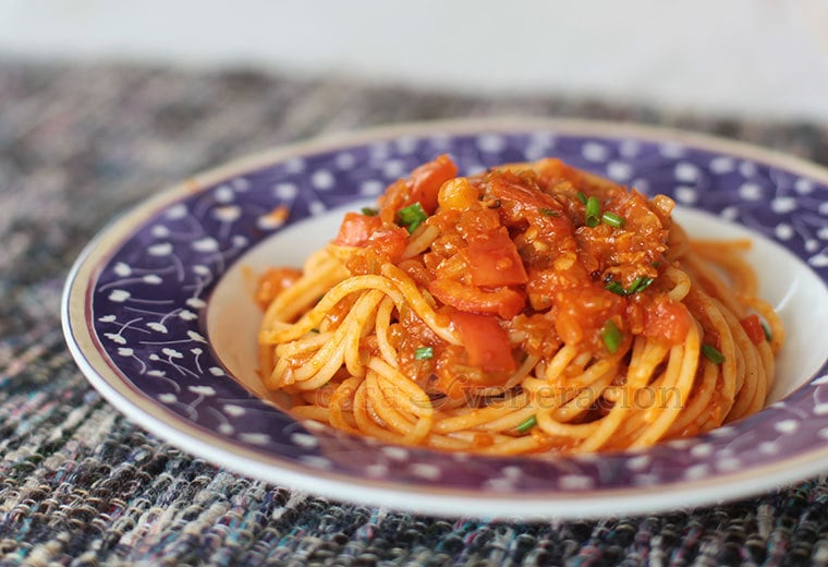 The flavors and texture of this vegan spaghetti with chunky tomato sauce dish rely heavily on the chopped vegetables which need to cook slowly in olive oil with the herbs and spices. The tomatoes were intentionally cut larger than the other vegetables to contrast with the smoothness of the sauce.