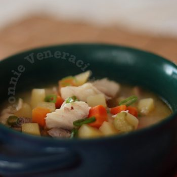 Fish soup with vegetables and yogurt