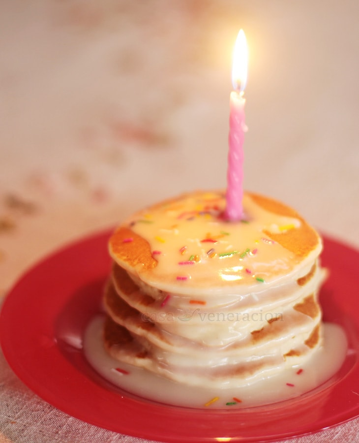 Birthday pancakes with lime glaze