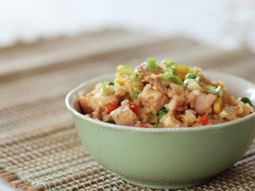 Chicken, vegetables and Sriracha fried rice