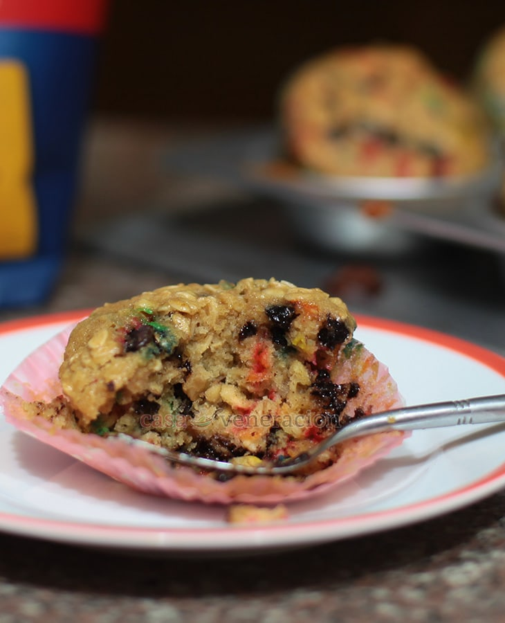 Oats and chocolate chips confetti muffins for a holiday brunch or for gift-giving
