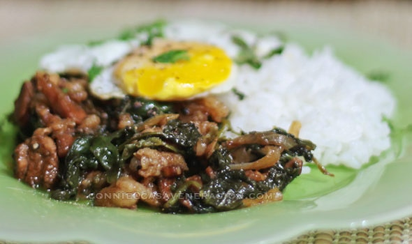 casaveneracion.com Gingered pork and spinach with Worcestershire sauce