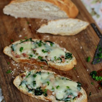 Creamed bacon and spinach toast