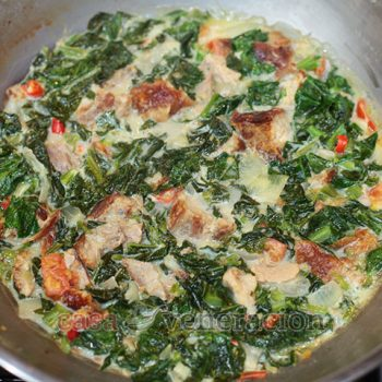 Think laing but not as mushy. Instead of taro leaves, there's kai-lan and, instead of pork pieces so soft that they melt in the mouth, there are chunks of lechon kawali with the crackling-like rinds still crisp, contrasting vividly with the creaminess of the sauce. There's heat from the chilis that blend perfectly with the natural sweetness of the coconut milk. What's not to love?