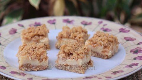 Something like lemon squares but with a lot more texture in the crust. The crunchy texture is repeated on top in the modified streusel topping. And between all that crunch is a zesty custard that is more milk than eggs. These lime custard bars with oatmeal crust are delicious and very easy to make.