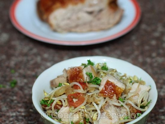 Mung Bean Sprouts Stir Fry With Crispy Pork Belly